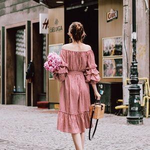 {zara} gingham ruffled belted flounce dress